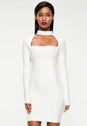 Missguided White Choker Neck Bandage Bodycon Dress