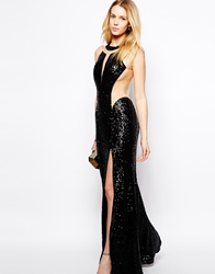 Forever Unique Sequin Maxi Dress With Sheer Inserts Black