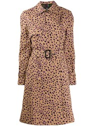 Paul Smith Ps Cheetah Print Trench Coat Brown