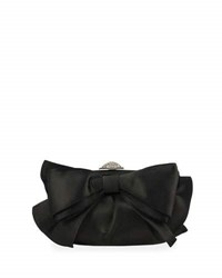 Judith Leiber Madison Satin Bow Evening Clutch Bag Black Silver Black