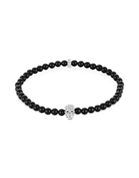 Northskull Black Onyx W Silver And Clear Crystal Micro Skull Bracelet