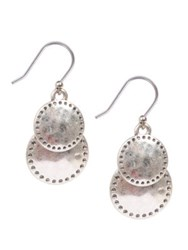 Lucky Brand Silvertone Double Disc Drop Earrings
