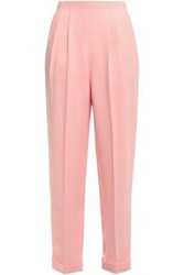 Delpozo Woman Pleated Crepe Tapered Pants Baby Pink