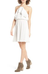 Lush Women's Ruffle Blouson Dress Ivory