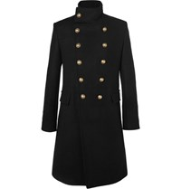 Balmain Slim Fit Double Breasted Cashmere Overcoat Black