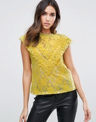 Amy Lynn Crochet Lace Top With Ruffle Detail White