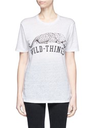 Zoe Karssen 'Wild Things' Slogan And Leopard Print Linen T Shirt White