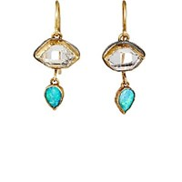 Judy Geib Mixed Gemstone Double Drop Earrings Gold Silver Gold Silver