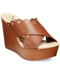 Callisto Darcii Platform Wedge Sandals Women's Shoes Cognac