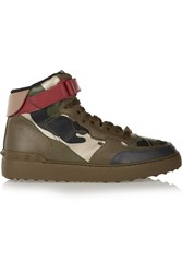 Valentino Camouflage Print Leather High Top Sneakers Green