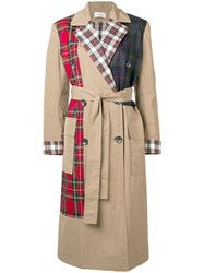 Isa Arfen Check Mix Trench Coat Nude And Neutrals