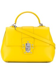 Dolce And Gabbana Lucia Tote Women Calf Leather One Size Yellow Orange