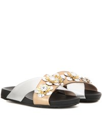 Fendi Embellished Metallic Leather Slip On Sandals