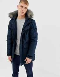 D Struct Fur Trimmed Oversized Mountain Parka Durable Poly Navy
