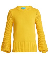 Mih Jeans Lova Balloon Sleeved Cotton Sweater Yellow