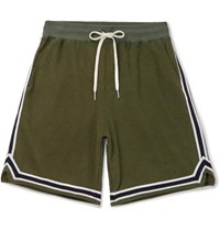 John Elliott Contrast Trimmed Cotton Blend Corduroy Shorts Green