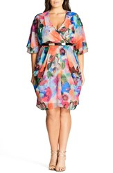 City Chic Plus Size Women's Floral Print Faux Wrap Dress