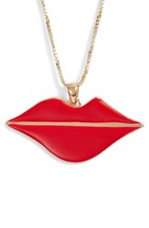 Jenny Bird La Bouche Pendant Necklace Gold Red