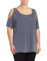 Marc New York Cold Shoulder Striped Performance Top Rainfall White Heather