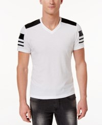 Inc International Concepts Men's Faux Leather Pieced T Shirt Only At Macy's White Pure