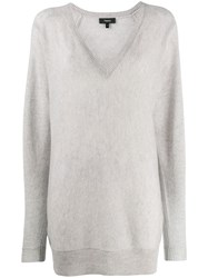 Theory Long V Neck Jumper Grey