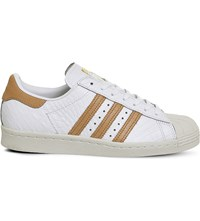 Adidas Superstar 80S Textured Leather Trainers White Croc Tan