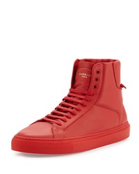 Givenchy Leather High Top Sneaker Red
