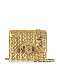 Roberto Cavalli Star Metallic Quilted Nappa Leather Shoulder Bag Gold