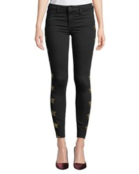 Black Orchid Noah Ankle Fray Skinny Jeans With Metallic Stars So Black