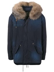 Mr And Mrs Italy Fur Trimmed Parka Coat Blue