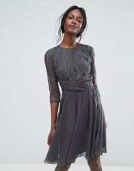 Elise Ryan Ruched Waist Lace Midi Dress With 3 4 Length Sleeve Dark Grey