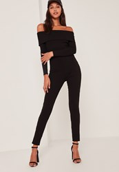 Missguided Black Fold Over Bardot Ribbed Jumpsuit