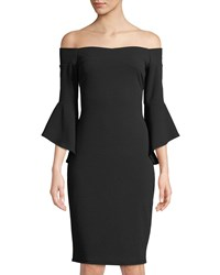 Bebe Off The Shoulder Bell Sleeve Sheath Dress Black