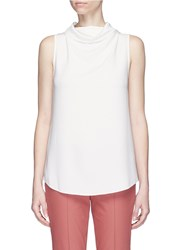 Theory 'Axlie' Cowl Neck Button Back Crepe Top White