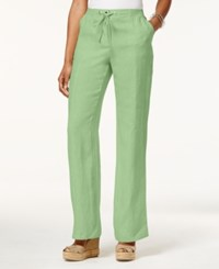 Jm Collection Drawstring Waist Linen Pants Only At Macy's Waterfall Mint