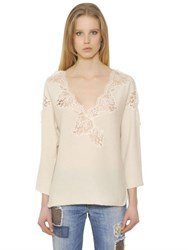 Ermanno Scervino Cashmere Wool Knit Sweater W Lace