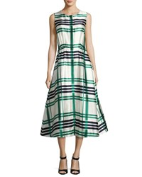 Oscar De La Renta Sleeveless Plaid Sateen Midi Dress Green