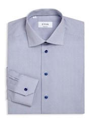 Eton Of Sweden Micro Cross Regular Fit Dress Shirt Blue