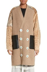 Undercover Women's Knit Cardigan Coat With Leather Mohair And Genuine Rabbit Fur Trim
