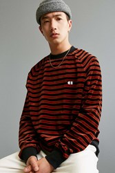 Lazy Oaf Striped Velour Sweatshirt Navy