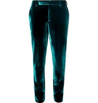 Saint Laurent Turquoise Slim Fit Velvet Suit Trousers