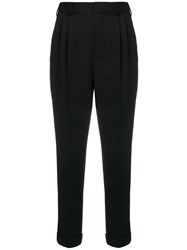 Saint Laurent High Waisted Cropped Trousers Black