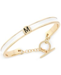 Bcbgeneration Gold Tone Love Letter Initial Bangle Bracelet Yellow White M