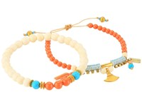Chan Luu Set Of 2 Pull Tie And Stretchy Semi Precious Stone Bracelets White Bone Mix Bracelet Multi