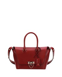 Valentino Demilune Small Rockstud Satchel Bag Red