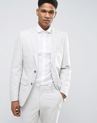 New Look Suit Jacket With Crosshatch Detail In Off White Light Grey
