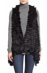 Women's Jocelyn Asymmetrical Rabbit Fur Vest Black