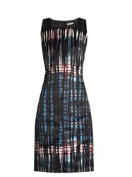 Tomas Maier Graffiti Tartan Print Duchess Satin Dress Blue Multi