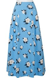 Draper James Pleated Printed Cotton Pique Maxi Skirt Light Blue
