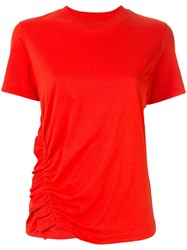 Ck Calvin Klein Asymmetric Ruche Detail T Shirt Red